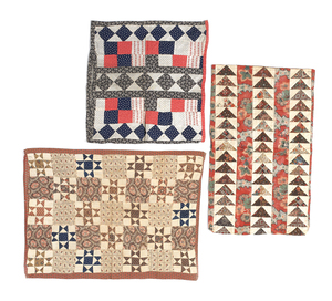 Three Pennsylvania pieced pillow shams, 19th c., t