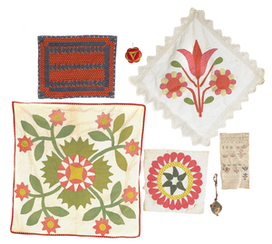 Group of textiles, 19th c., to include pillow sham