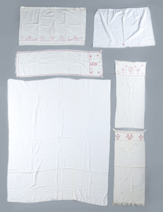 Pennsylvania embroidered linen bed sheet, dated 18