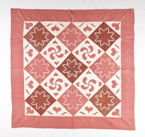 Pennsylvania pieced and appliqué quilt, late 19th.