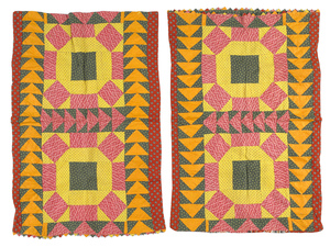 Pair of Pennsylvania pieced pillow shams, 19th c.,