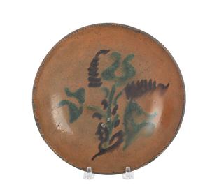Pennsylvania redware pie plate, 19th c., with slip