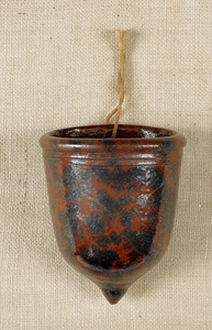 Pennsylvania redware wall pocket, 19th c., with ma