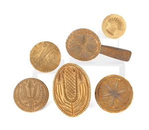 Six Pennsylvania carved butterprints, 19th c., ton