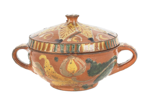 Southeast Pennsylvania redware covered bowl, ca. 1