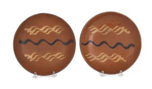 Pair of Pennsylvania redware pie plates, 19th c.,i