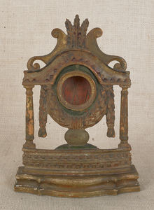 Carved and painted pine watch hutch, ca. 1820, 10/