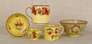 Collection of canary, Staffordshire early 19th c.,