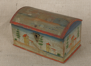 Continental painted pine dome lid box, 19th c., de