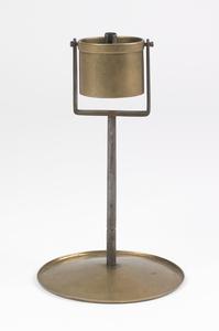 Pennsylvania brass and iron gimbaled fat lamp, mid