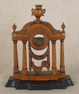 Classical carved maple watch hutch, 19th c., with
