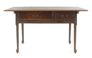 Pennsylvania walnut tavern table, ca. 1765, the ba