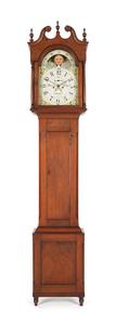 Pennsylvania walnut tall case clock, early 19th c.