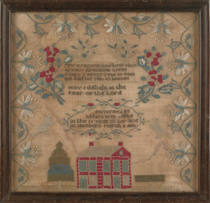 Pennsylvania silk on linen sampler, dated 1832, wr