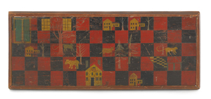 American painted pine gameboard, ca. 1860, decorat