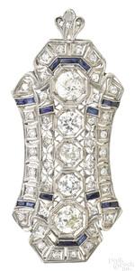 Platinum, diamond, and sapphire pin/pendant
