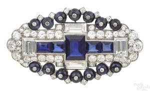 Platinum sapphire and diamond pin