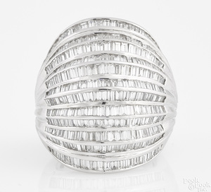 Platinum and diamond twelve-band ring