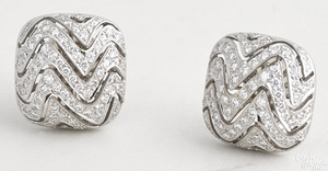 18K white gold and diamond earrings