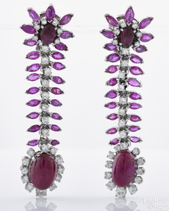 One pair platinum, ruby, and diamond earrings
