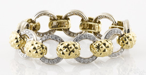 18K yellow and white gold and diamond bracelet