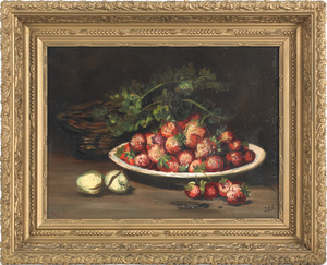 Oil on canvas still life, late 19th c., initialedo