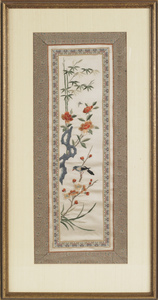 Four Oriental painted silk panels, 20th c., 22 1/2