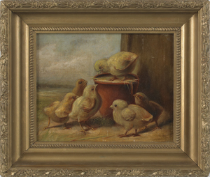 Oil on canvas portrait of six chicks, 19th c., 8 1