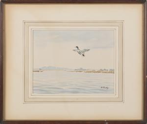 John Sudy (American 1880-1960), two watercolor lan