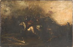 Continental oil on canvas battle scene, ca. 1800,9