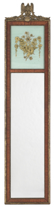 Mahogany and giltwood looking glass, 20th c., with