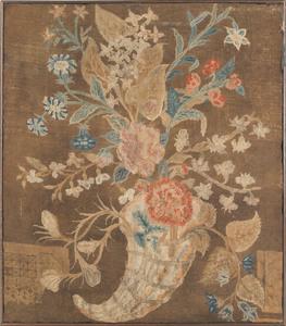 English needlework panel, late 18th c., of a cornu
