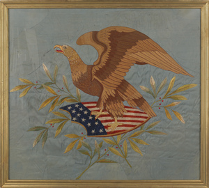 Large needlework on silk panel, 19th c., of an eag