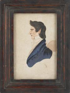 Watercolor profile portrait of a gentleman, early9