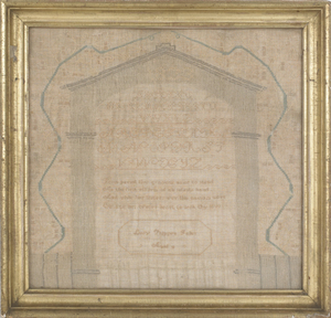 Silk on linen sampler, dated 1823, wrought by Lucy