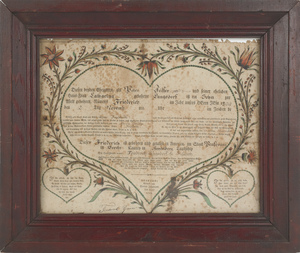 Pennsylvania printed and hand colored fraktur by J