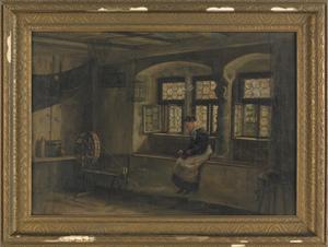 Oil on canvas interior scene, late 19th c., of a s