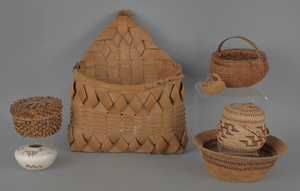 Six miscellaneous baskets, 19th c., to include Ind