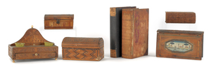 Four marquetry inlaid boxes, 19th c., together wit