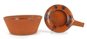 Large redware mixing bowl, 5 3/4