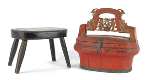 Painted Chinese sewing box, 19th c., together with