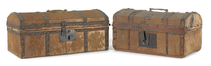 Two hide covered dome top boxes, early 19th c., la