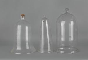 Three glass domes, 19th c., tallest - 18