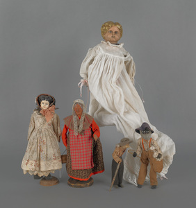 Two composition molded hair dolls, early 19th c.,o