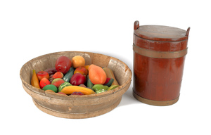 Large wooden fruit bowl with painted wooden fruit,