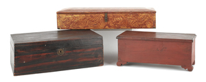 Three miscellaneous painted wood boxes, largest -8