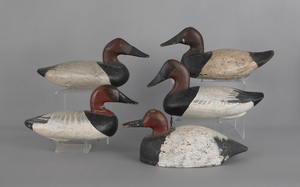 Five Pennsylvania/Maryland working decoys, early 2