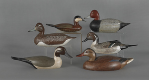 Six contemporary decoys, one labeled Ethan Allen,n