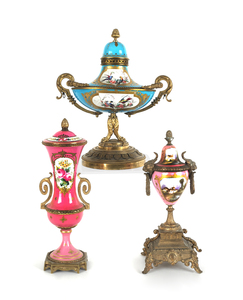 Sevres type ormolu mounted centerpiece with a turq