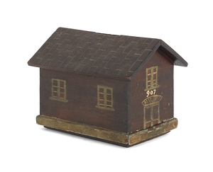 Painted mahogany house form bank, late 19th c., 5